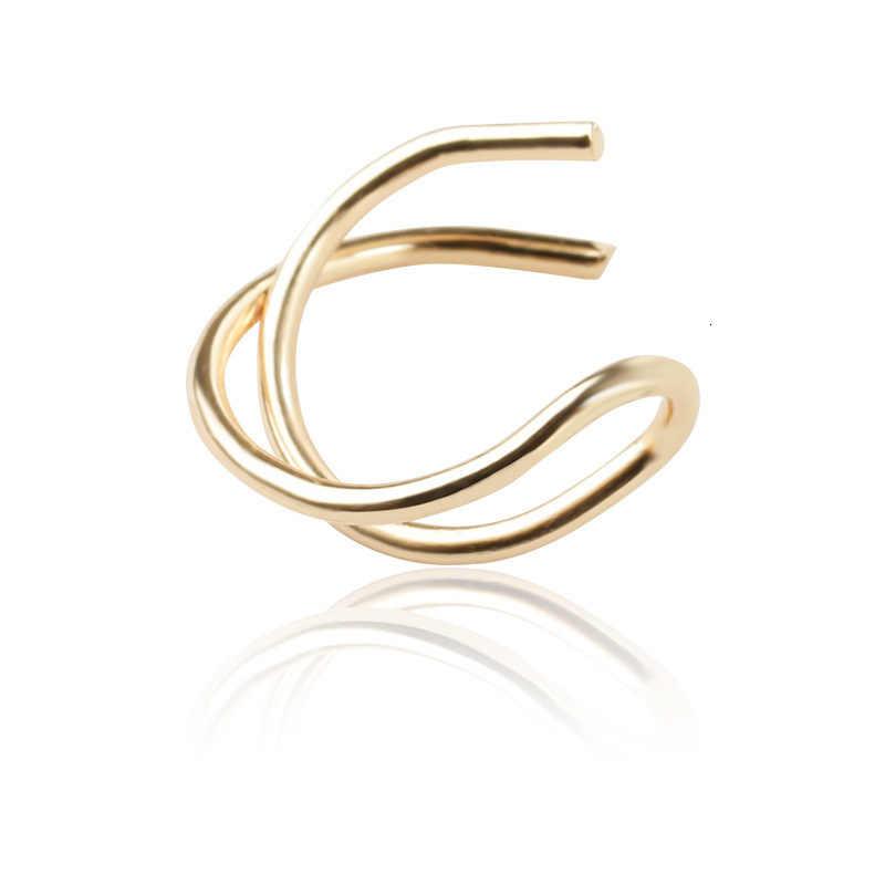 2018 nueva moda clip de oreja cruzada DOBLE C cartílago boda simple joyería en forma de U doble sin pendientes perforados para las mujeres
