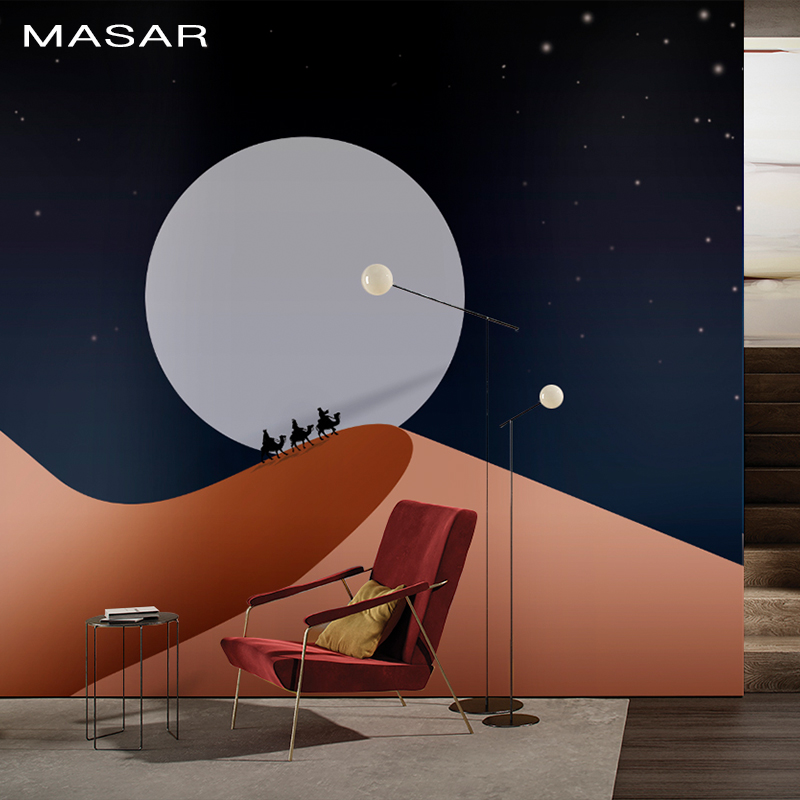 MASAR Hand-drawn Illustration Design Desert Castle Element Custom Mural Cartoon Children Room Background Wall Paper Desert