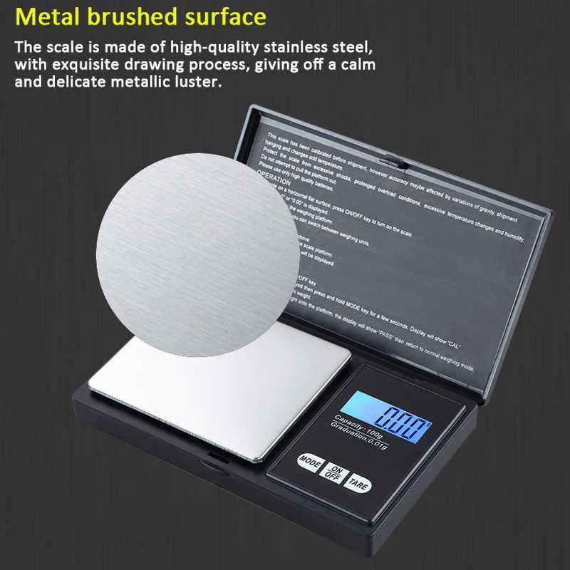 Báscula de bolsillo Digital precisa dididizhou 1 Uds. Con pantalla LCD para joyería de medicina alimentaria negro