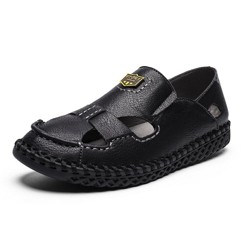 New Mens Sandals High Quality Leather Beach Sandals Mens Casual Shoes High Quality Summer Breathable Men's Shoes Size 39 48 Men's Sandals     - title=
