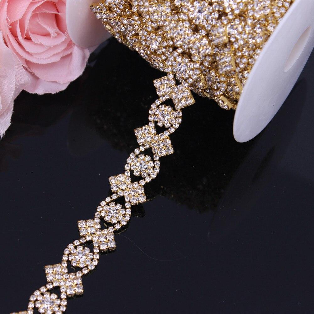 Bridal Trim Applique For Evening Dress Wedding Dress Sash Belt Beautiful Gold Belt Rhinestone Chain Trim By The Yard