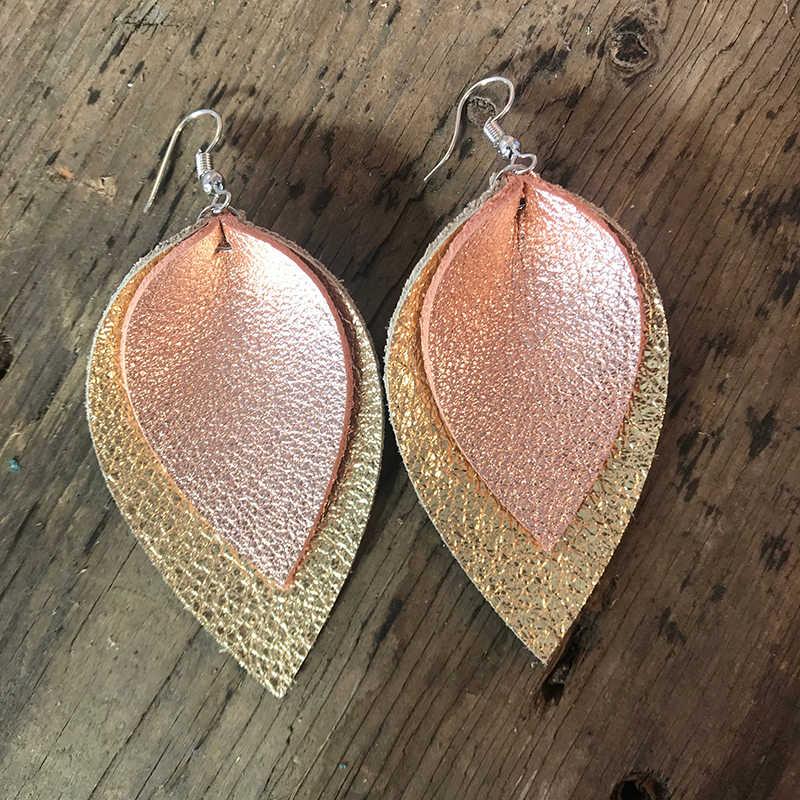 black glitter Double layered Black Silver Glitter Faux Leather petal earrings leaf earrings stacked earrings leather petal earrings