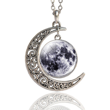 Fashion Solar System Moon Earth Mars Planet Necklace Antique Silver Crescent Pendant Chain Outer Space Jewelry
