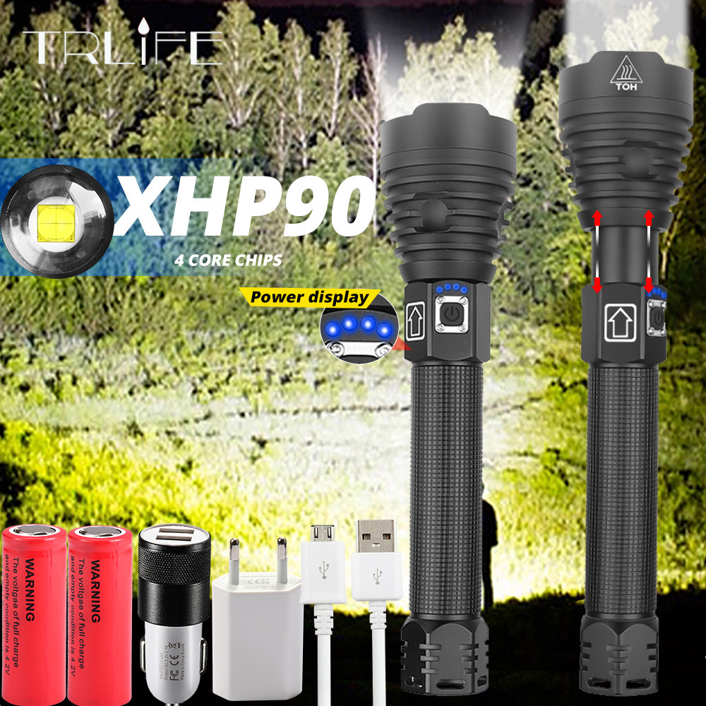 XLamp XHP90.2 The Most Powerful Usb Zoomable Led Flashlight Power 26650 or 18650 Battery & Xhp70.2 Tactical Flash light Torch