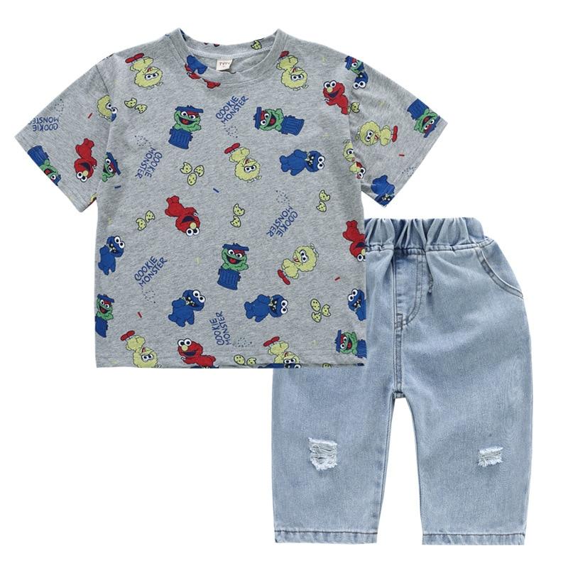 Baby Boys Clothing 2020 Summer Kids Cartoon Tops Tshirt Denim Pants Sport Suit Childrens Short Sleeve T Shirt Jeans Clothes Sets 5