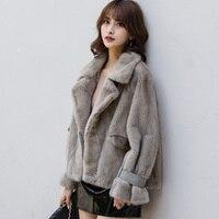 Natural Fur Coat Real Leather Jacket Mink Fur Winter Coat Women Clothes 2020 Korean Elegant Velvet Mink Jacket FM 0002 YY1681