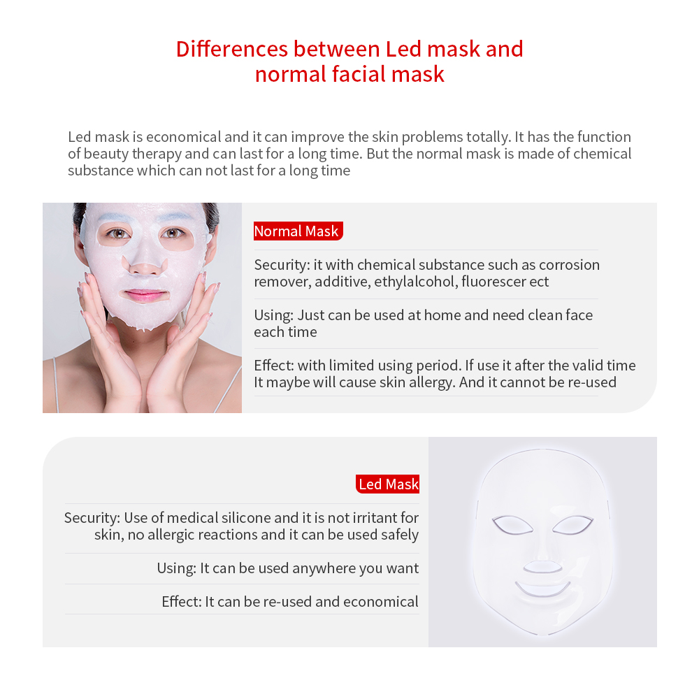 Image 5 - Foreverlily 7 Colors Led Facial Mask Led Korean Photon Therapy Face Mask Machine Light Therapy Acne Mask Neck Beauty Led Mask-in LED Mask from Beauty & Health
