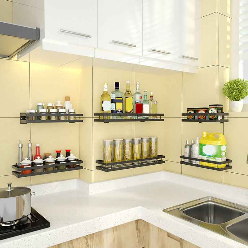 kitchen shelf for spice jars stainless steel spice rack wall shelves paste drill storage rack holder for expand space keep tidy
