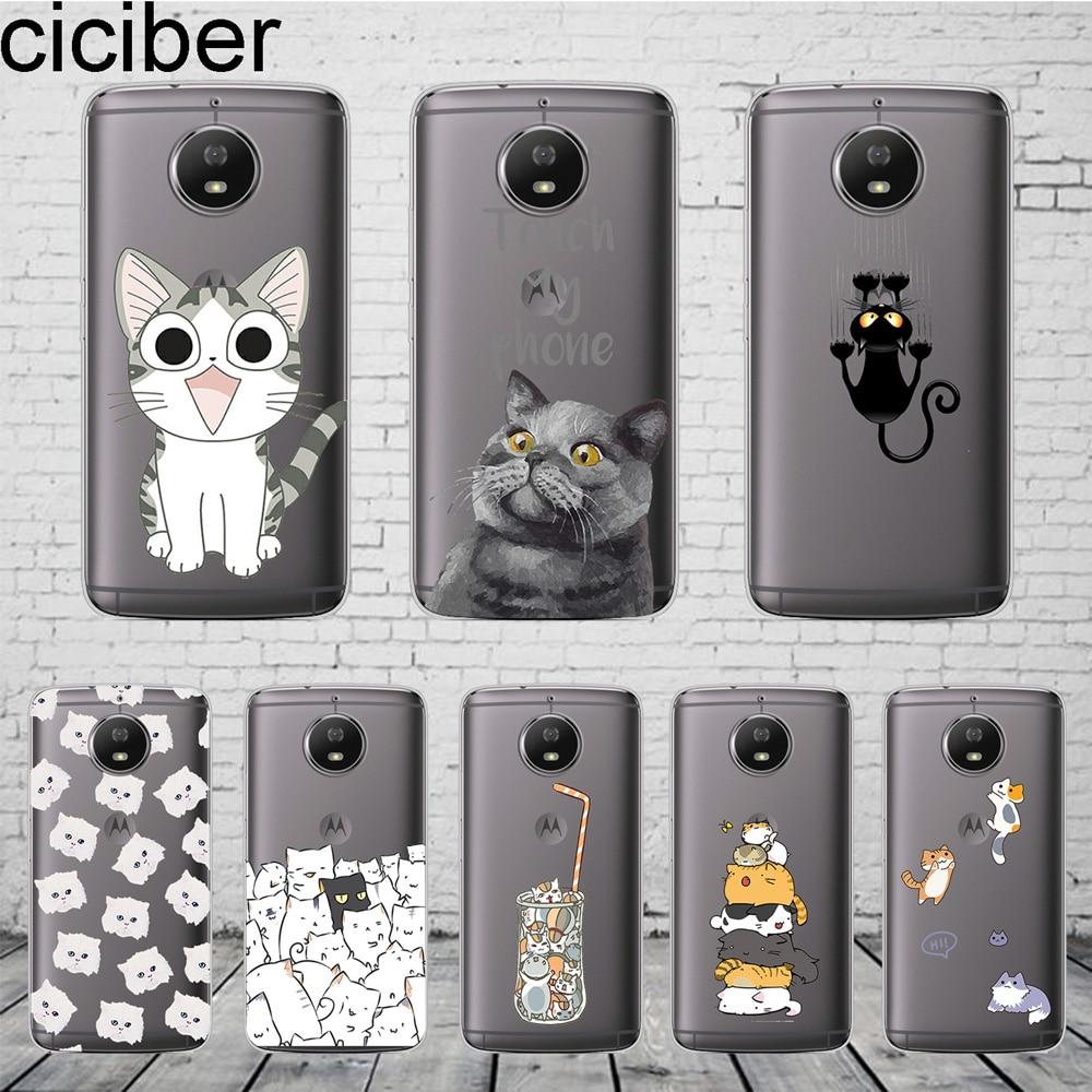 Cartoon Cute Cat Cover For Motorola Moto C Z2 Z3 ONE P30 G4 G5 G5S G6 E3 E4 E5 Play Plus Power M X4 Phone Case Soft TPU