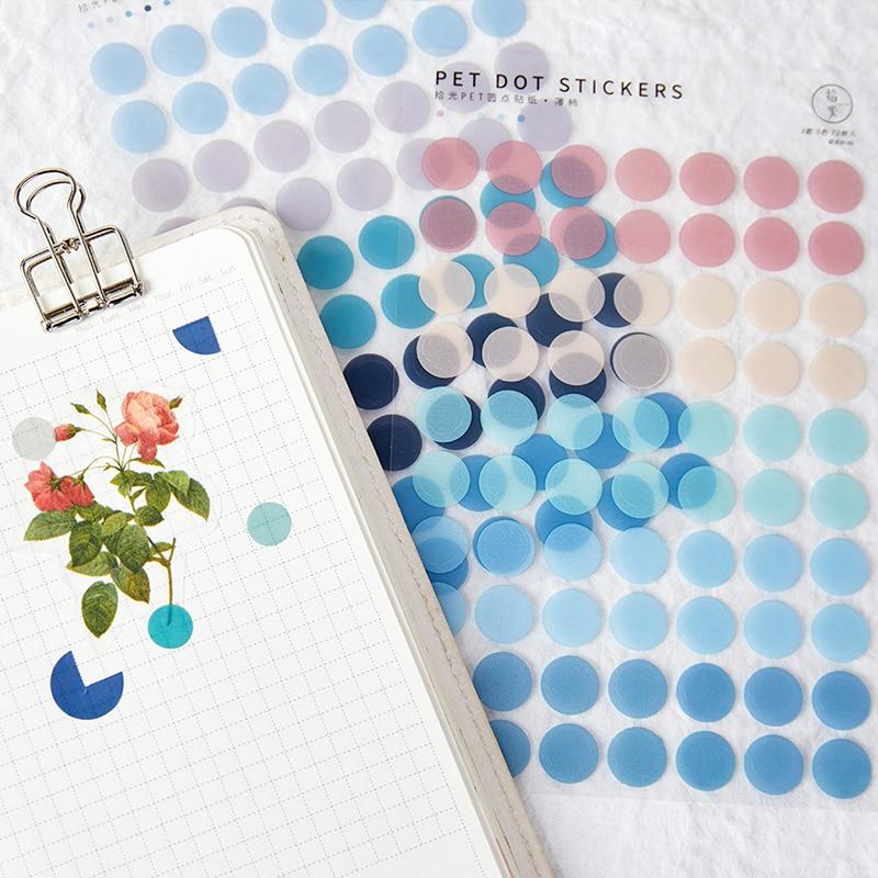 Journamm 120pcs dot Morandi earth color scrapbook album photo wall journal project making happy card decoration sealing stickers 5