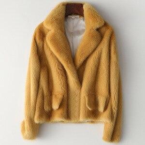 Image 2 - 冬フル毛皮毛皮のコートの女性ファッションショートミンクの毛皮のジャケット豪華な高品質暖かい厚手ナチュラルスリム生き抜く
