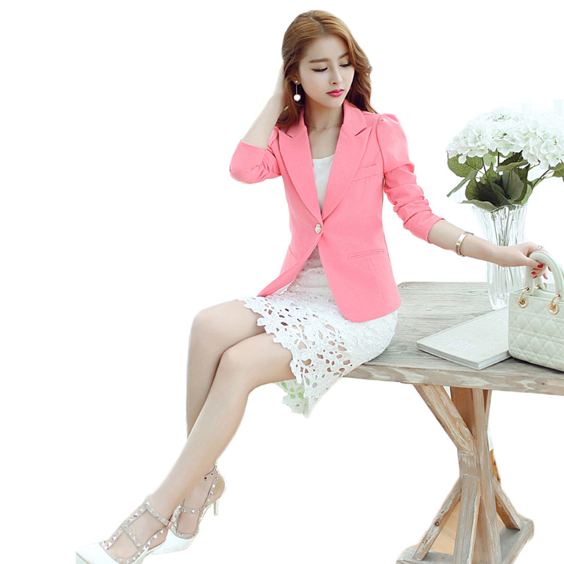 Blazer Women Korean Short Slim S-2XL Pink Black  White Long Sleeve Fashion Coat Spring Autumn Office Lady One Button Blazer JD30