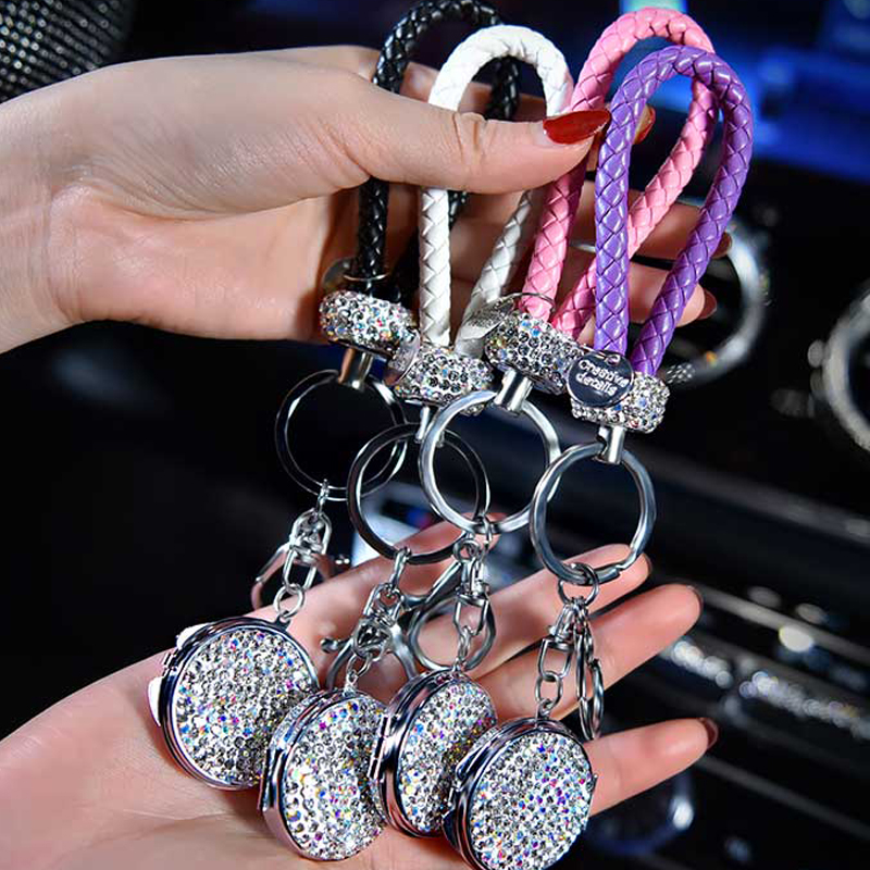 1Pcs High-Grade Hand Woven Leather Car KeyChain Crystal Key Holder Key Rings Storage Genuine Bag Pendant with Mirror