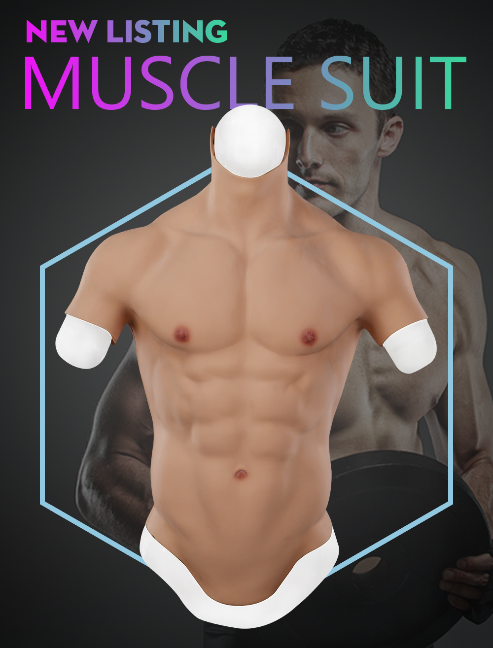Eyung Silicone Male Muscle Suit Realistic false muscle Artificial fake Belly Man Skin Up Body Chest for Cosplayers Crossdresser  (1)