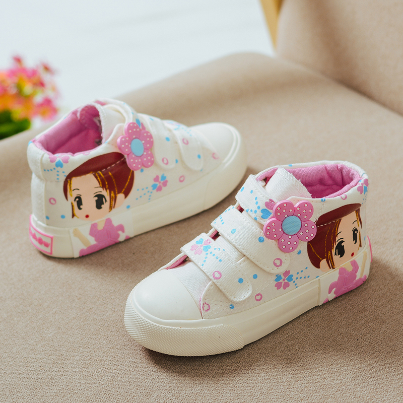 2018 Spring Autumn Children Canvas Shoes Girls Fashion Sneakers 6 Colors High Baby Casual Shoes Breathable Princess Shoes