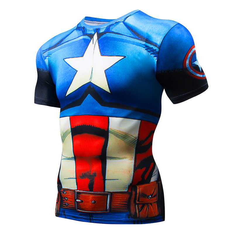 2019 Gym T Shirt Pria Lengan Pendek Marvel Avengers Civil War Kaos Kompresi MMA Pakaian Komik SUPER Pria atasan Kaos
