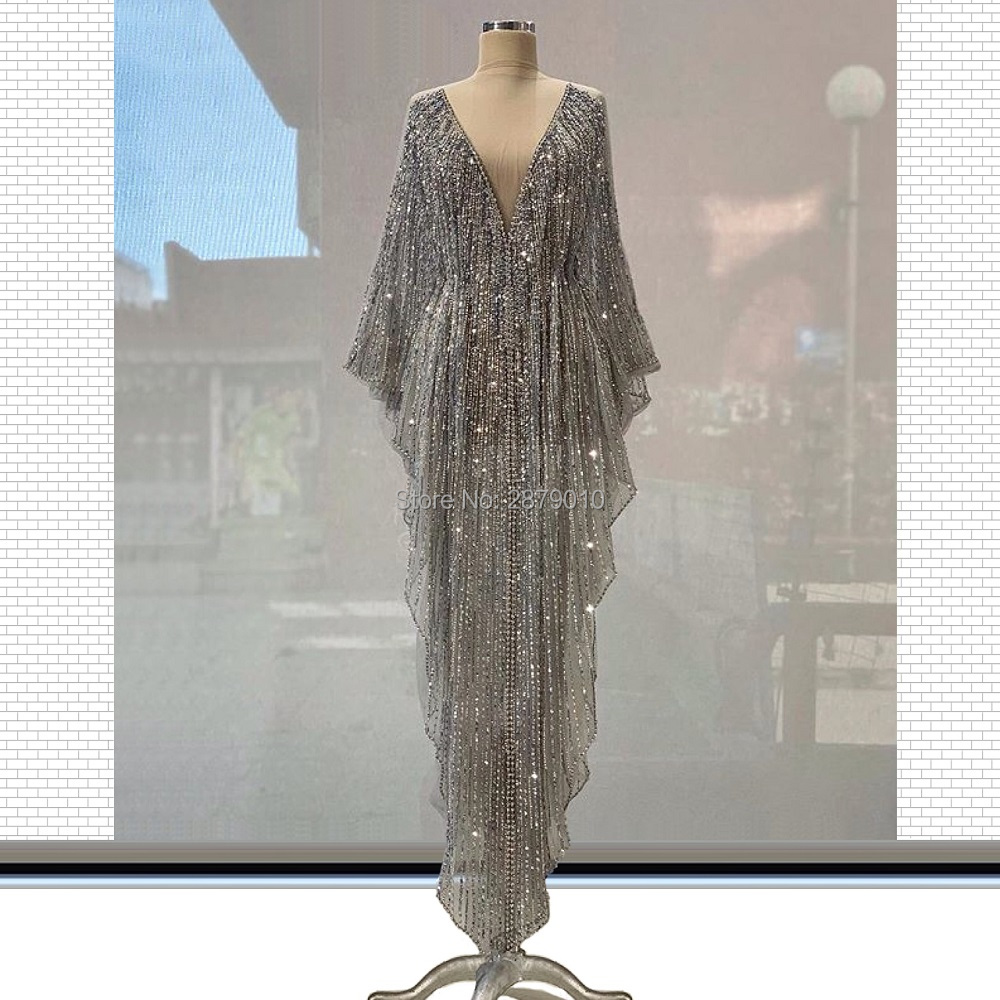 Kaftans Glitter A-Line Evening Dress Floor-Length Celebrity Dress Prom Dress Robe De Soiree Aibye Middle East вечернее платье