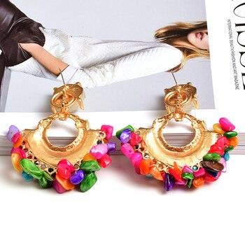 Bohemian Vintage Handmade Colorful Rhinestone  Metal Drop Earrings 2