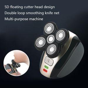 Image 5 - חדש 5 ראש נטענת חשמלי מכונת גילוח חמישה צף ראשי סכיני גילוח שיער קליפר האף אוזן שיער גוזם גברים פנים ניקוי מברשת