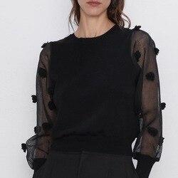 Индивидуальный Женский черный свитер с прозрачным рукавом в стиле пэчворк, осень 2019, новая мода, вязаный Топ с круглым вырезом, современный ...
