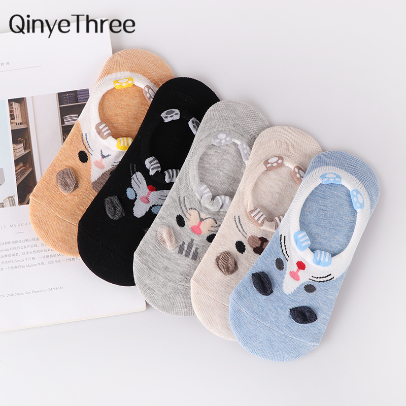 5 Pairs/Lot Women Summer Autumn Cartoon Cat Fox Rabbit Cute Animal Fruit Series Funny Ankle Socks Cotton Invisible Sock Dropship