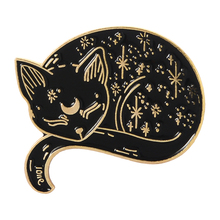 Witch Cat Pins Sailor Moon Luna Black Brooches Sleeping Badges Witches Jewelry Halloween