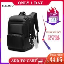 Мужской рюкзак для путешествий EURCOOL, большой черный рюкзак для ноутбука 17,3 д., водонепроницаемый рюкзак с защитой от краж и разъемом USB для зарядки, модель n0007, 2019