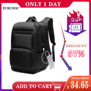 Image 1 - EURCOOL حقيبة السفر الرجال متعددة الوظائف سعة كبيرة الذكور موتشيلا حقائب USB شحن ميناء 17.3 بوصة محمول حقائب الظهر المدرسية