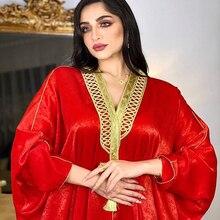 AB015 Velvet Dress To Floor Open Abaya Red Woman Cardigan Arabic Prayer Robe World Apparel Store Turkish Batwing Sleeves Kaftan