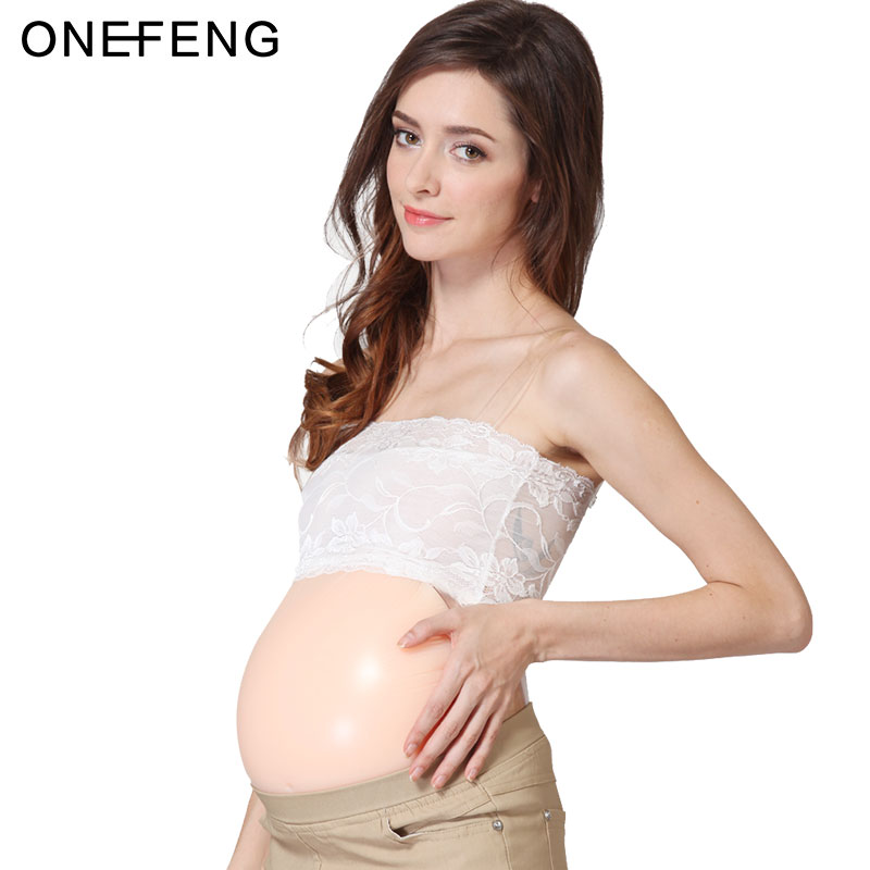 ONEFENG 100% Silicone Gel Fake Pregnant Belly Artificial Stomach 1000-1500g/pc Jelly Belly