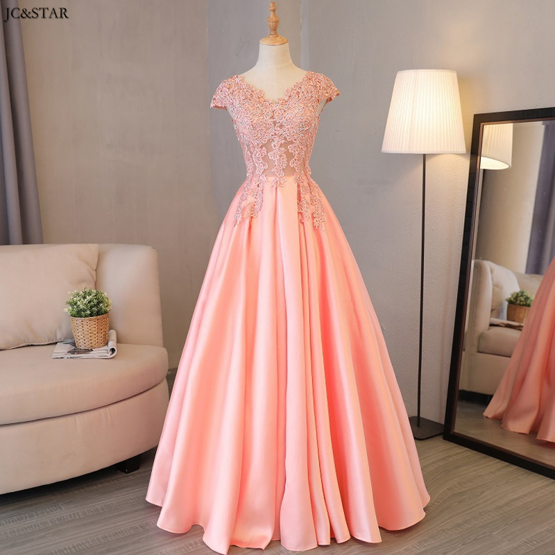 Vestido De Festa Longo Para Casamento New Lace Satin Sexy V Neck A Line Peach Pink Bridesmaid Dresses Robe De Soiree Longue