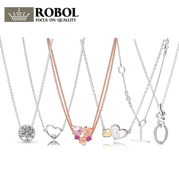 PDB  XL  07  RLLEN Original 925 Sterling Silver Fashion Peach Knot Heart Life Tree Necklace Woman Jewelry Gift Free Shipping
