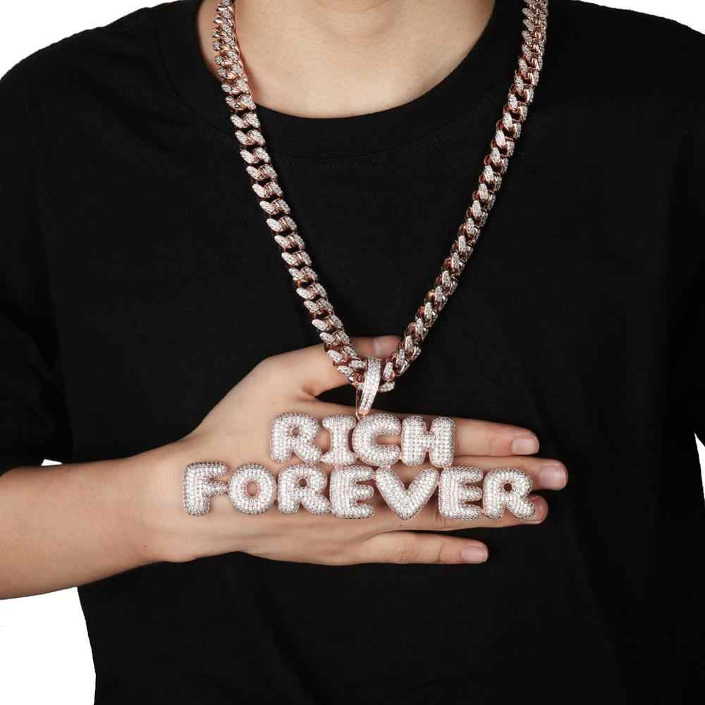 O nome feito sob encomenda iced para fora da bolha letras pingentes chain colares encantos masculinos zircon hip hop joias com corrente de tênis de prata do ouro