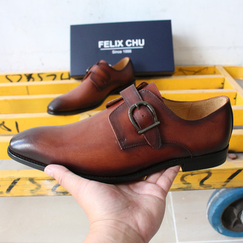 FELIX CHU Mens Dress Shoes Monk Strap Italian Handmade Genuine Leather Men Brown Formal Shoes Men's Business Wedding Shoes
