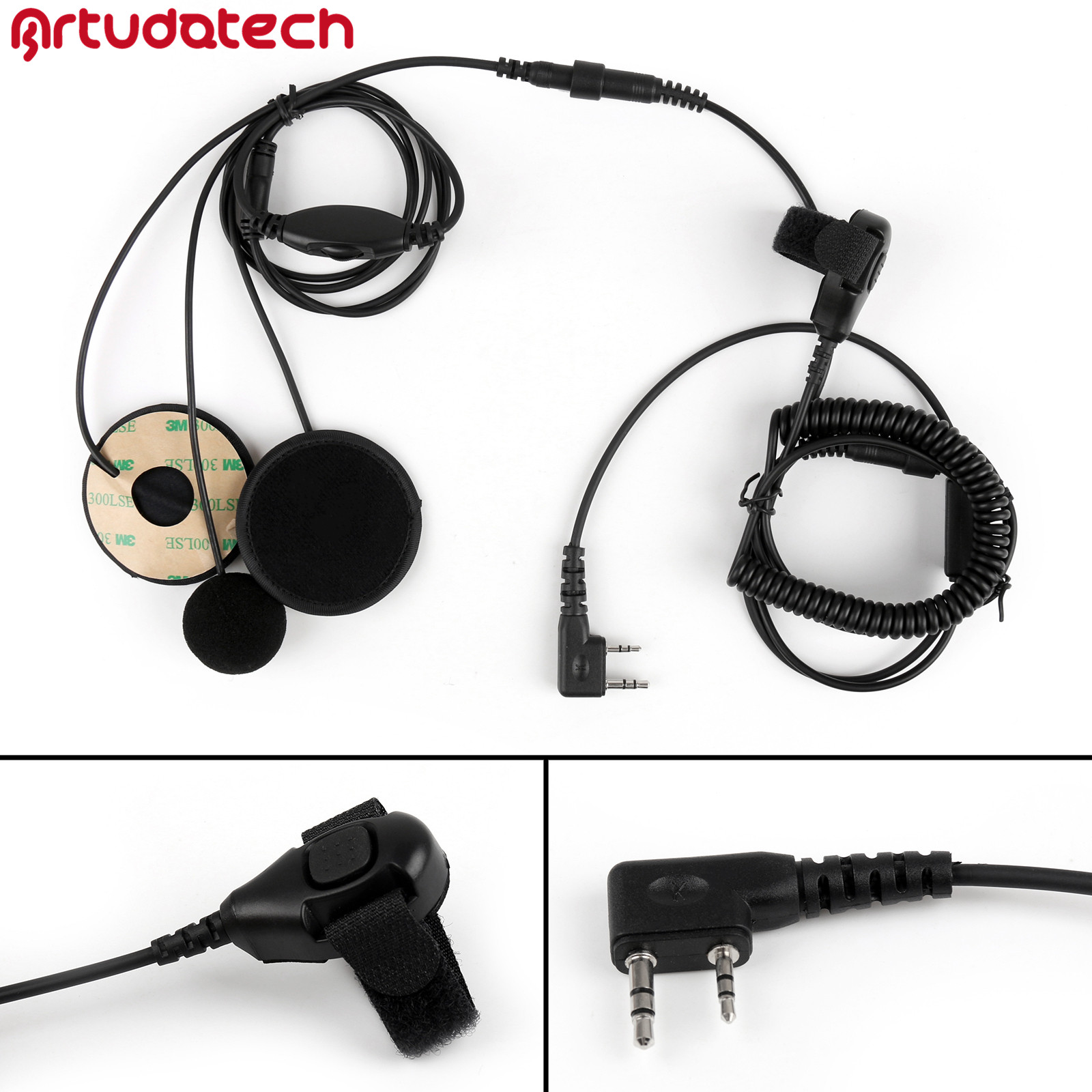 Artudatech 1Pcs 2 Pin Motorcycle Helmet Headset Adjustable Volume PTT For Kenwood <font><b>TK</b></font> <font><b>3107</b></font> Walkie Talkie image