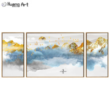 лучшая цена Pop Art Rich Scenery 100% Hand-Painted Chinese Ink Painting on Canvas Blue Sea of Clouds and Golden Mountain Landscape