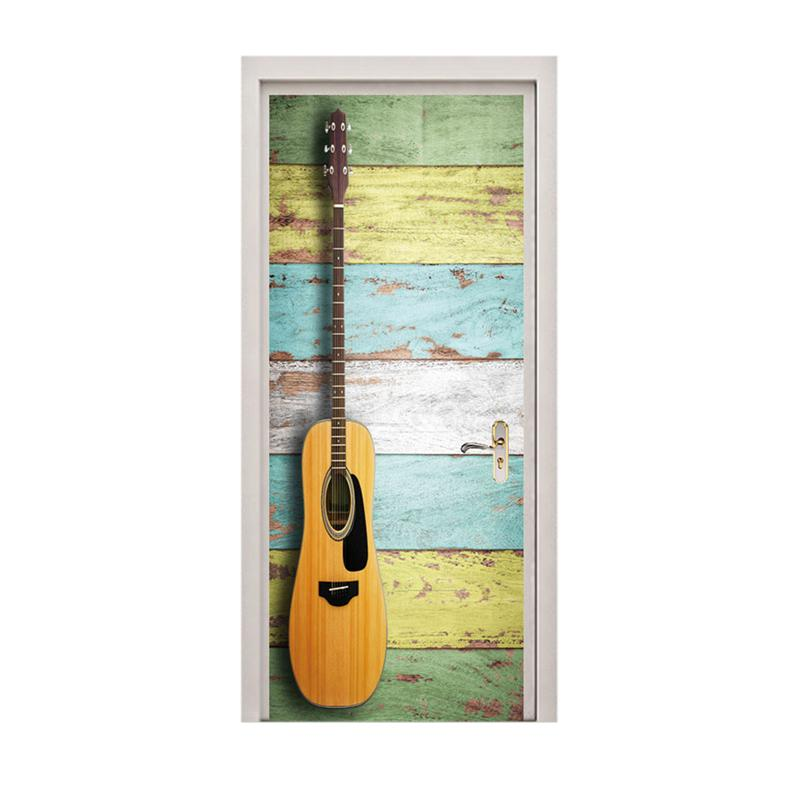 1pc Door Sticker Guitar Pattern Creative PVC Removable Door Mural Home Decoration Smooth Surface