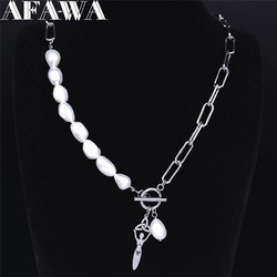 2021 Irish Knot Goddess Stainless Steel Freshwater Pearls Silver Color Pendant Necklace Women Jewelry bijoux femme N3735S02