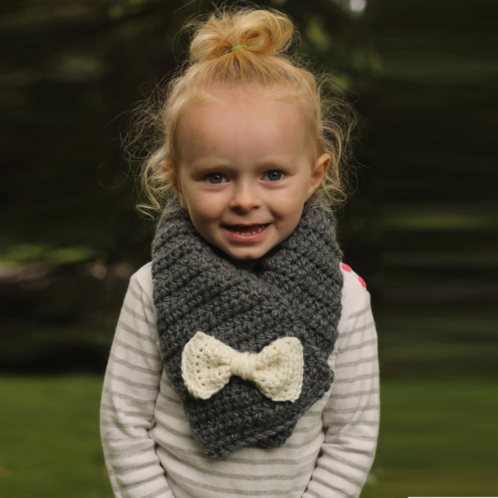 2020 Baby Scarf Winter Autumn Winter Baby Infant Kids Girl Crochet Bowknot O Ring Neck Warm Scarves Echarpe Hiver