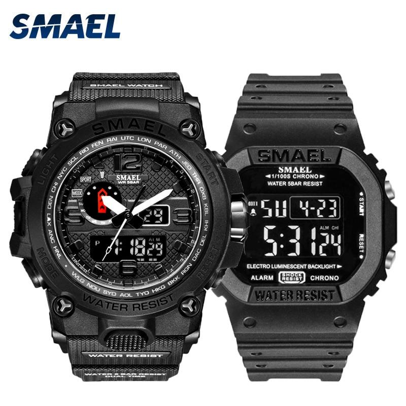 Fashion Camo Military men's watches Set  SMAEL double Army waterproof Male wristWatch 1545 1801 gift digital kol saati watch men