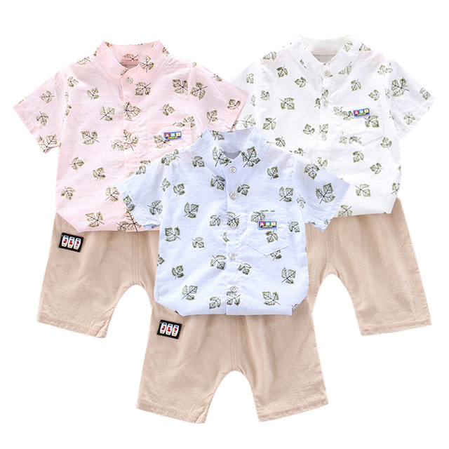 Baby Boy Clothes Set Outfits Short Sleeve Leaves Pattern T-shirt Blouse+Shorts Kids Casual Beach Outfits 26