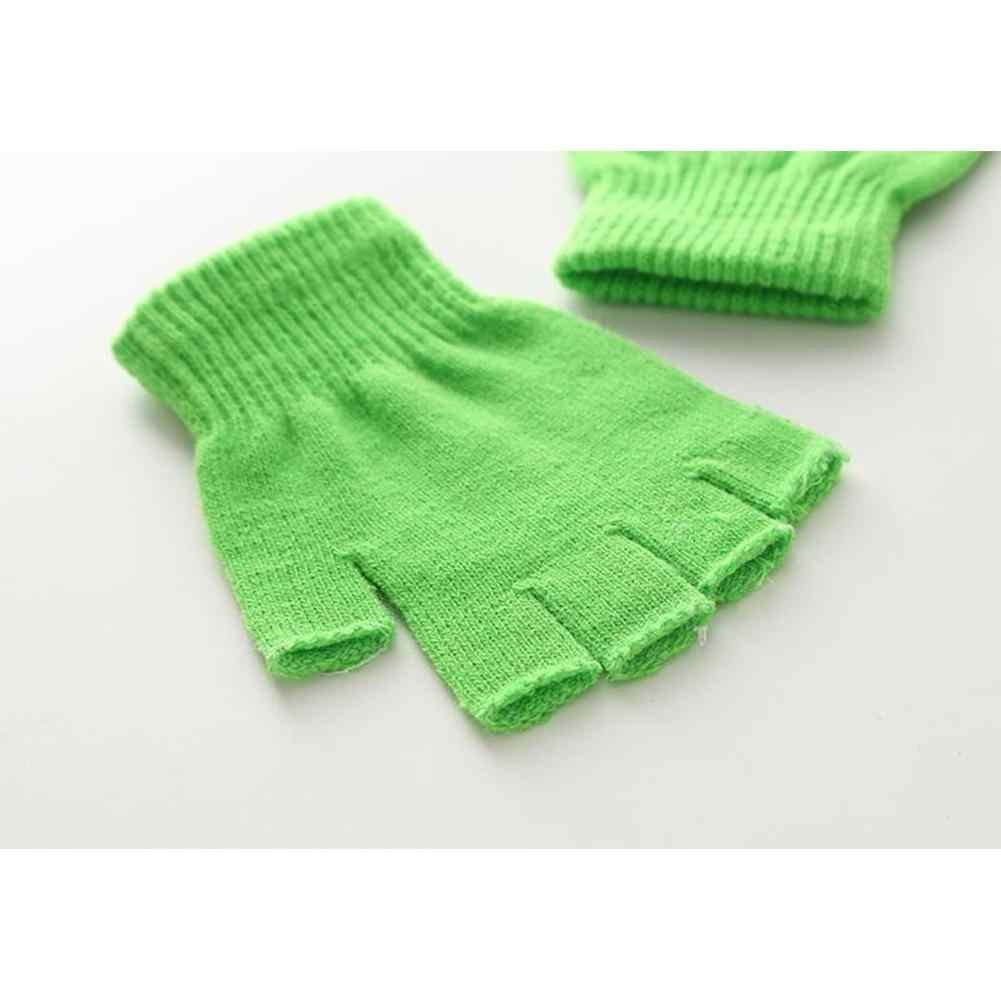 MISSKY 女性男性手袋冬暖かいハーフ指純粋な色高弾性通気性グローブ女性のための男性