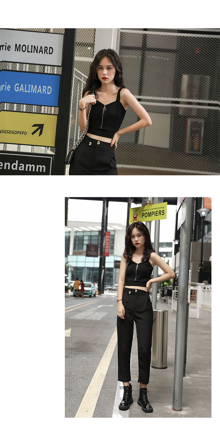 H308856dce40b47dfa0322fecf3853dd22 - HELIAR Tops Women Crop Top Club Sexy Zipper Knitting Camisole With Hole Female Tank Tops Ladies Sleeveless Solid Strap Top Women