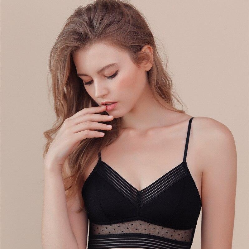 Soutien-gorge Sexy pour femmes, dos nu, dentelle Invisible, maille à pois, sous-vêtements Ultra mince, Lingerie, débardeur