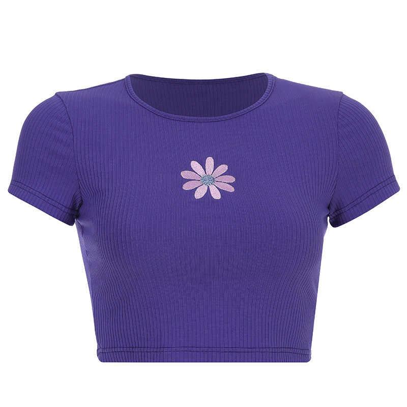 2020 여름 뜨거운 여자 짧은 자 수 크루 넥 T-셔츠 여성 캐주얼 반팔 Bottoming 스웨터 폴 리 에스테 르 자 수