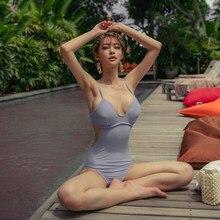 Corea Monokini Donne Costumi Da Bagno Costume Da Bagno Solido Imbottito Beachsuit Costume Da Bagno sexy di Monokini Beachwear 2020 maillot de bain femme