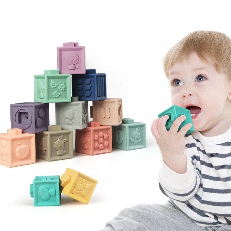 Детские игрушки для новорожденных Мягкие строительные блоки сенсорный ручные мячики для массажные с резиновым покрытием Прорезыватели дл...