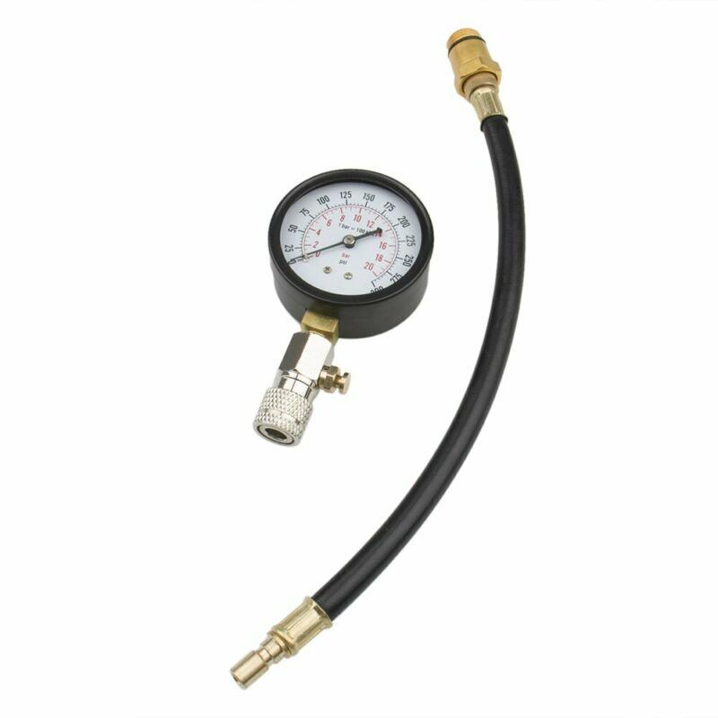 Engine Pressure Gauge Cylinder Compression Meter Tester Test Flex Hose