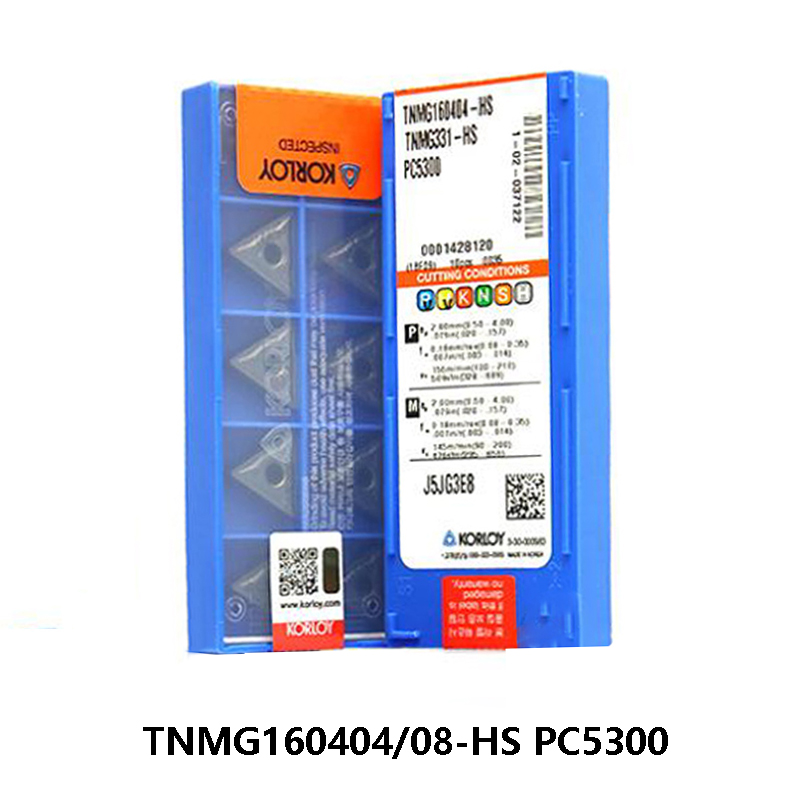 Universal Original KORLOY Turning Tool TNMG160404-HS TNMG160408-HS PC5300 TNMG 10pcs Triangle Carbide Inserts Lathe Tools CNC