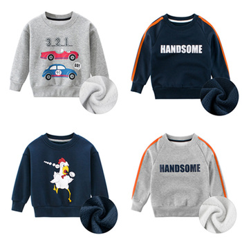 Baby Boys Teenager Hoodies Clothes Children Winter Thick Sweatshirts Toddler Casual Sweater Kids Plus Velvet Tops Car 2-9Y 1